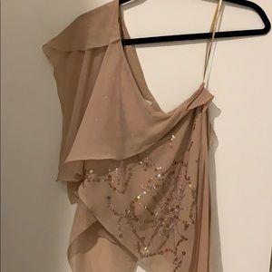 BCBG one shoulder silk blouse